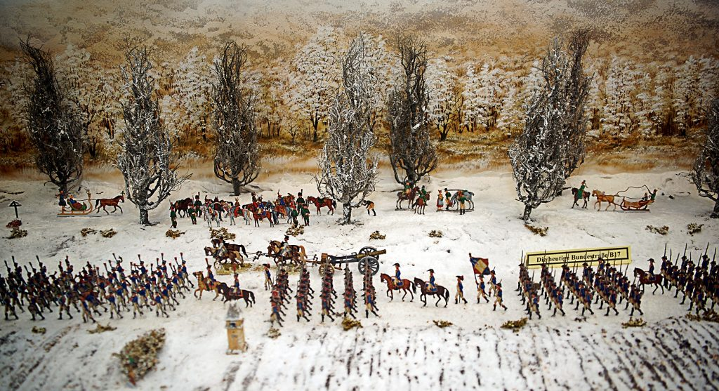 Zinnfiguren Diorama der Parade der Streitkräfte Napoleons in Möllersdorf im Jahr 1805