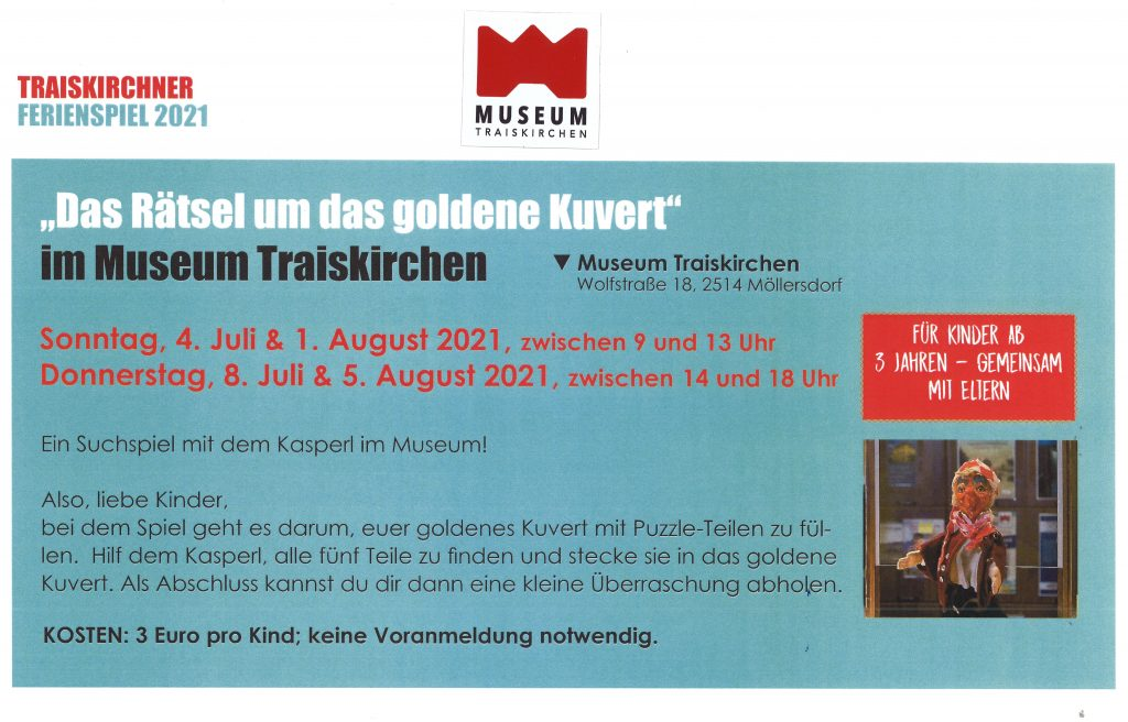 Programminfos zum Ferienspiel im Museum Traiskirchen