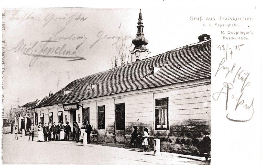 historische Postkarte mit Gasthaus Holzinger um 1905