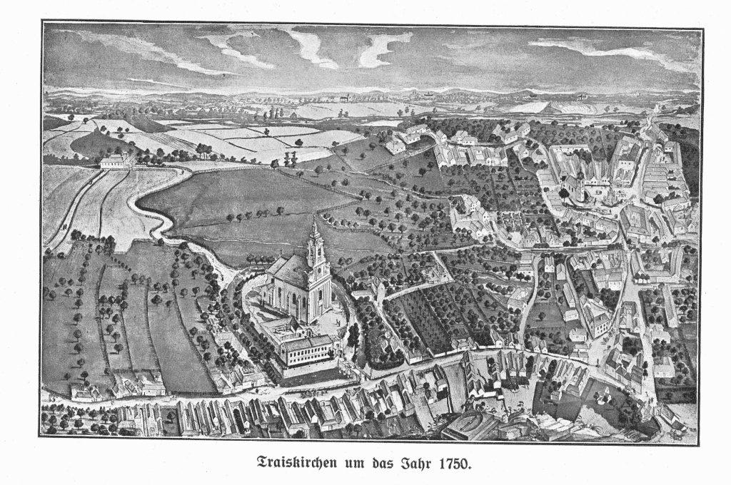 Perspektivkarte von Traiskirchen um 1750 mit Pfarre St. Margaretha