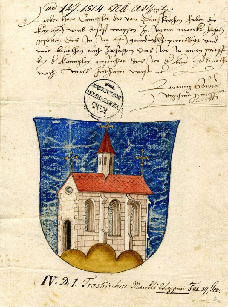 Verwaltungsakt der Wappenverleihung 1514 Seite 1/2